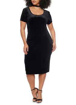 Plus Size Short Sleeve Velvet Bodycon Dress - BLACK - 1930020620132