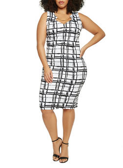 Plus Size Sleeveless Windowpane Printed Keyhole Dress - 1930020620980