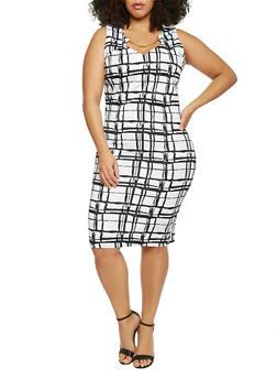 Plus Size Sleeveless Windowpane Printed Keyhole Dress - WHITE - 1930020620980