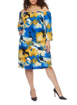 Plus Size Floral Off the Shoulder Peasant Dress - 1930020625355