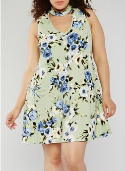 Plus Size Floral Choker Skater Dress - 1930020625668