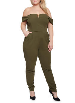 Plus Size Off the Shoulder Jumpsuit with Pockets - OLIVE - 1930020625679