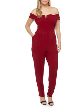 Plus Size Off the Shoulder Jumpsuit with Pockets - RED (SUPER RUBY) - 1930020625679