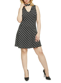 Plus Size Sleeveless Choker V Neck Polka Dot Dress - 1930020625693