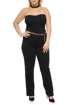 Plus Size Strapless Jumpsuit with Chainlink Belt - BLACK - 1930020625695