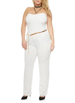 Plus Size Strapless Jumpsuit with Chainlink Belt - IVORY - 1930020625695