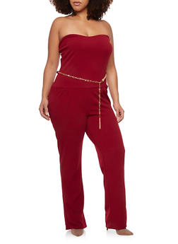 Plus Size Strapless Jumpsuit with Chainlink Belt - WINE - 1930020625695