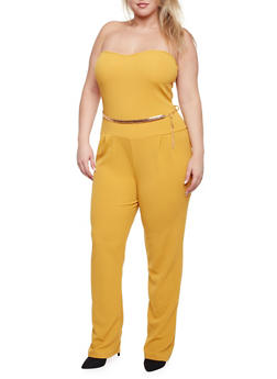 Plus Size Strapless Jumpsuit with Chainlink Belt - MUSTARD - 1930020625695