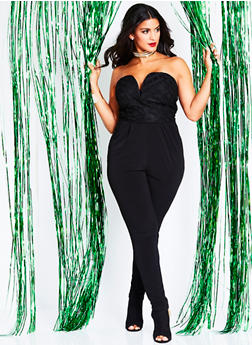 Plus Size Strapless Jumpsuit with Mesh Striped Bodice - 1930020626256