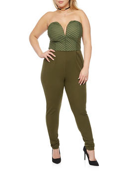 Plus Size Strapless Jumpsuit with Mesh Striped Bodice - OLIVE - 1930020626256