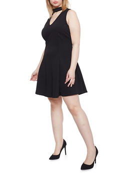 Plus Size Sleeveless Choker V Neck Dress - BLACK - 1930020626291