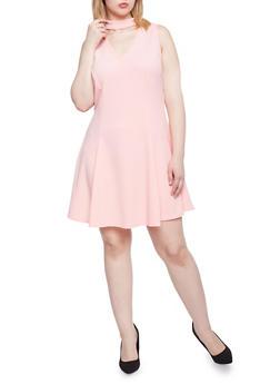 Plus Size Sleeveless Choker V Neck Dress - D ROSE - 1930020626291