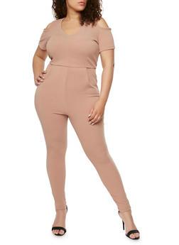 Plus Size Solid Cold Shoulder Jumpsuit - KHAKI - 1930020626334