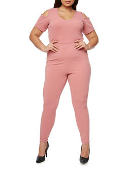 Plus Size Solid Cold Shoulder Jumpsuit - 1930020626334