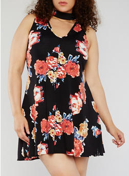 Plus Size Sleeveless Floral Keyhole Choker Dress - 1930020628144