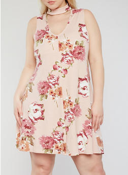 Plus Size Sleeveless Floral Keyhole Choker Dress - 1930020628144