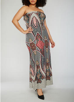 Plus Size Strapless Abstract Paisley Maxi Dress - 1930020628847