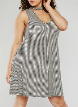 Plus Size Striped Choker Trapeze Dress - 1930020629645