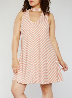 Plus Size Sleeveless Striped Choker Dress - 1930020629668