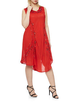 Plus Size Sleeveless Dress with Embroidery and Sequins - 1930030848064