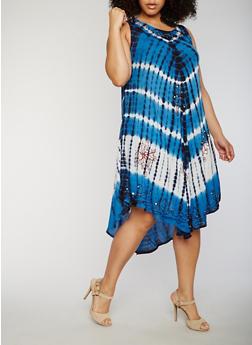 Plus Size Tie Dye Embroidered Sharkbite Hem Dress - 1930030848067