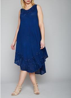 Plus Size Sleeveless High Low Dress with Beaded Embroidery - 1930030848068