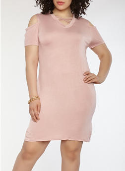 Plus Size Caged Cold Shoulder Dress - 1930062701021