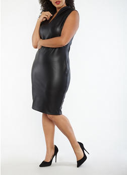 Plus Size Faux Leather Sheath Dress - 1930068514204