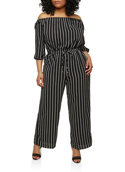 Plus Size Striped Off the Shoulder Jumpsuit - 1930069390129