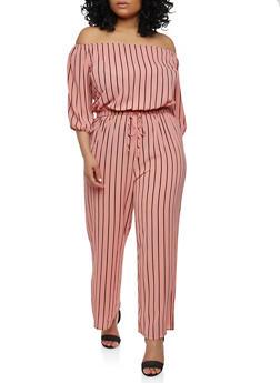 Plus Size Striped Off the Shoulder Jumpsuit - 1930069390129