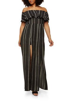 Plus Size Striped Romper with Maxi Skirt Overlay - 1930069390141