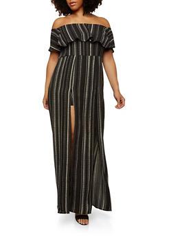 Plus Size Striped Maxi Romper - 1930069390141