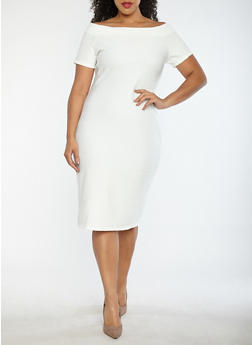 Plus Size Off the Shoulder Bandage Dress - IVORY - 1930069390203