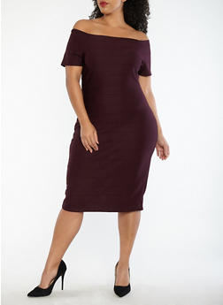 Plus Size Off the Shoulder Bandage Dress - 1930069390203