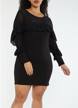 Plus Size Tiered Sleeve Dress with Mesh Detail - 1930069390388