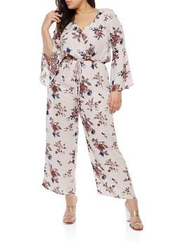 Plus Size Floral Cinched Waist Jumpsuit - 1930069390413