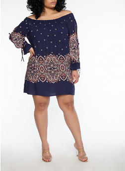 Plus Size Paisley Print Off the Shoulder Dress - 1930069391012