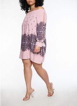 Plus Size Paisley Print Off the Shoulder Dress - 1930069391012