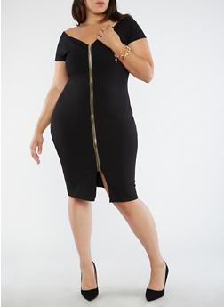 Plus Size Off the Shoulder Zip Front Dress - 1930069391021