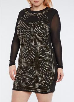 Plus Size Studded Mesh Sleeve Dress - 1930069391045