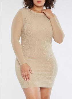 Plus Size Studded Mesh Sleeve Dress - 1930069391045