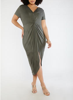 Plus Size Knot Front Dress - OLIVE - 1930069391168