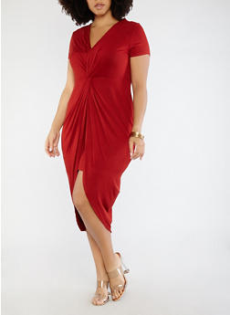 Plus Size Knot Front Dress - RED - 1930069391168