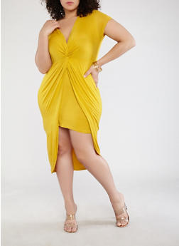 Plus Size Knot Front Dress - MUSTARD - 1930069391168