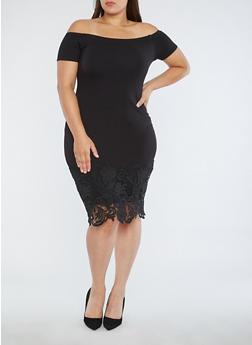 Plus Size Off the Shoulder Crochet Border Dress - 1930069391385