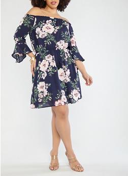 Plus Size Off the Shoulder Floral Dress - 1930069392005
