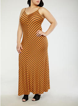 Plus Size Striped Maxi Dress - 1930069392485