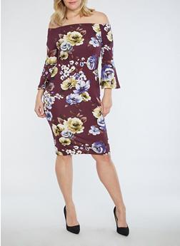 Plus Size Off the Shoulder Floral Dress - 1930069392651