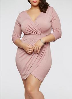 Plus Size Ruched Faux Wrap Dress - MAUVE - 1930069392670