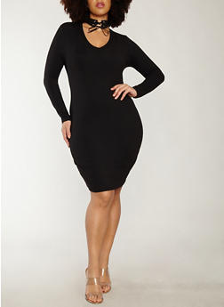 Plus Size Lace Up Choker Neck Soft Knit Dress - 1930069392987
